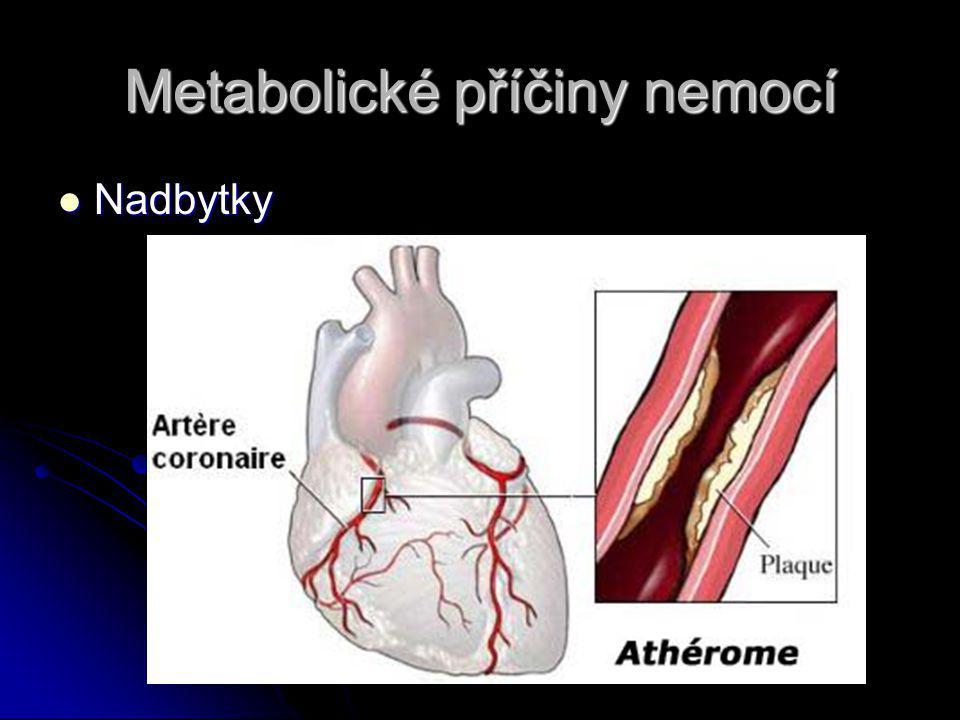 Metabolické příčiny nemocí Nadbytky Nadbytky