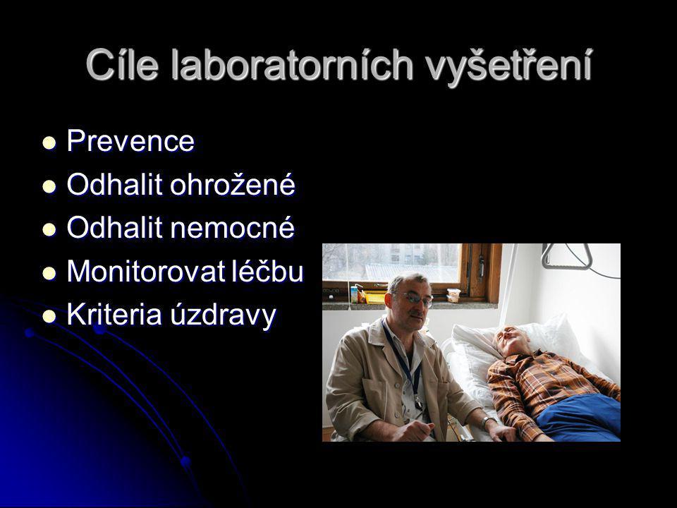 Cíle laboratorních vyšetření Prevence Prevence Odhalit ohrožené Odhalit ohrožené Odhalit nemocné Odhalit nemocné Monitorovat léčbu Monitorovat léčbu Kriteria úzdravy Kriteria úzdravy