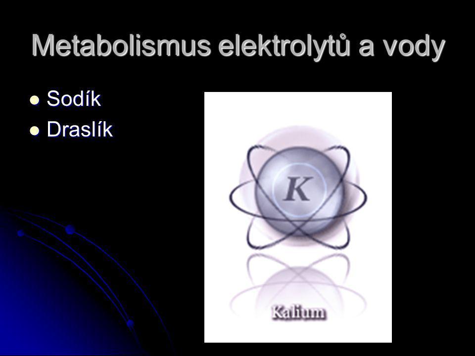 Metabolismus elektrolytů a vody Sodík Sodík Draslík Draslík