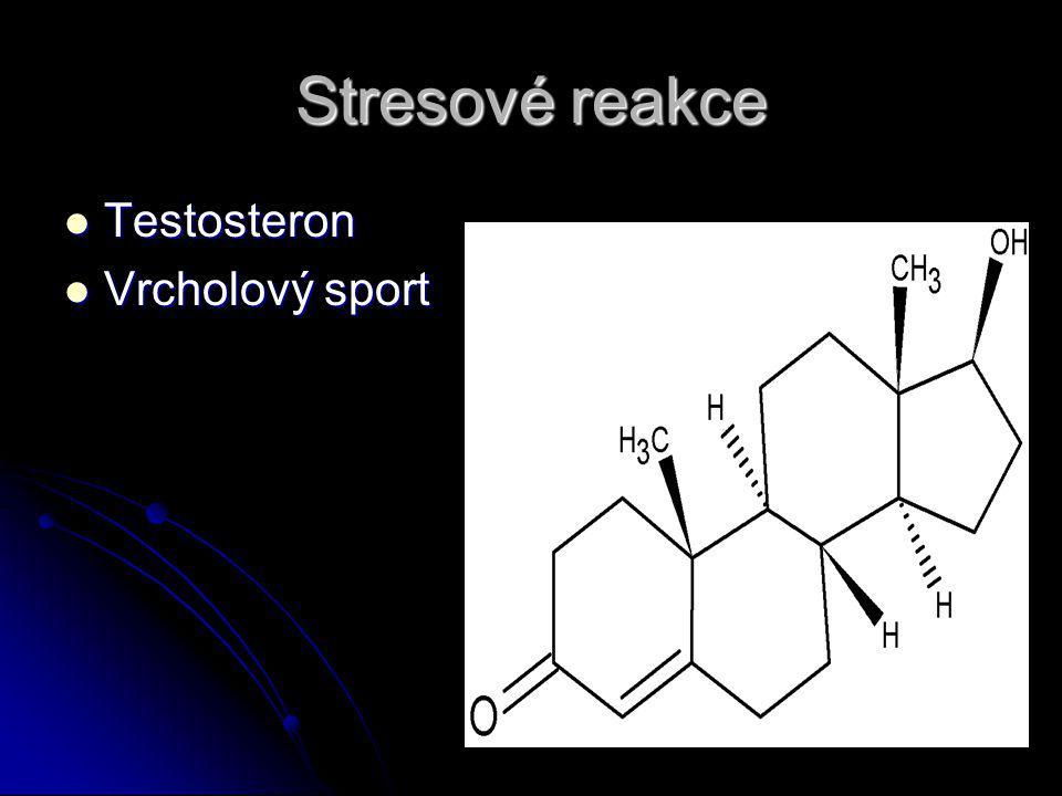 Stresové reakce Testosteron Testosteron Vrcholový sport Vrcholový sport