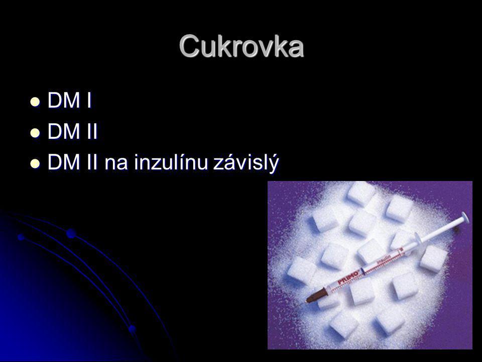 Cukrovka DM I DM I DM II DM II DM II na inzulínu závislý DM II na inzulínu závislý