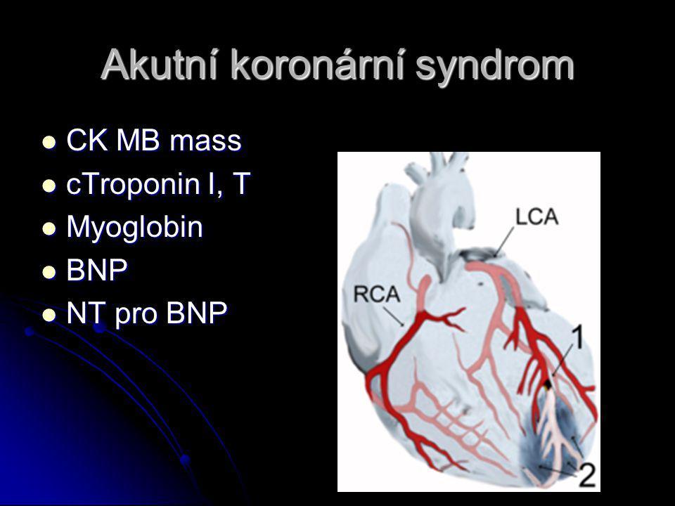 Akutní koronární syndrom CK MB mass CK MB mass cTroponin I, T cTroponin I, T Myoglobin Myoglobin BNP BNP NT pro BNP NT pro BNP