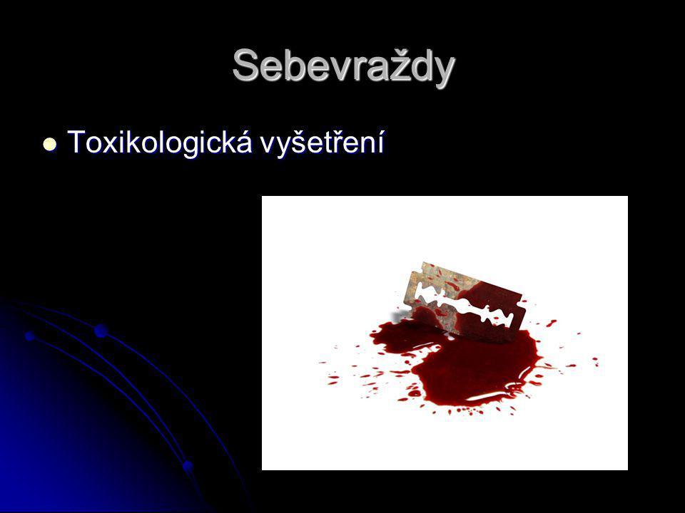 Sebevraždy Toxikologická vyšetření Toxikologická vyšetření