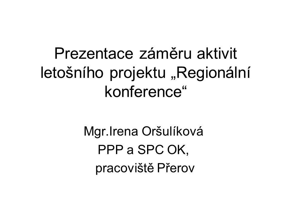 """Prezentace záměru aktivit letošního projektu """"Regionální konference"""" Mgr.Irena Oršulíková PPP a SPC OK, pracoviště Přerov"""