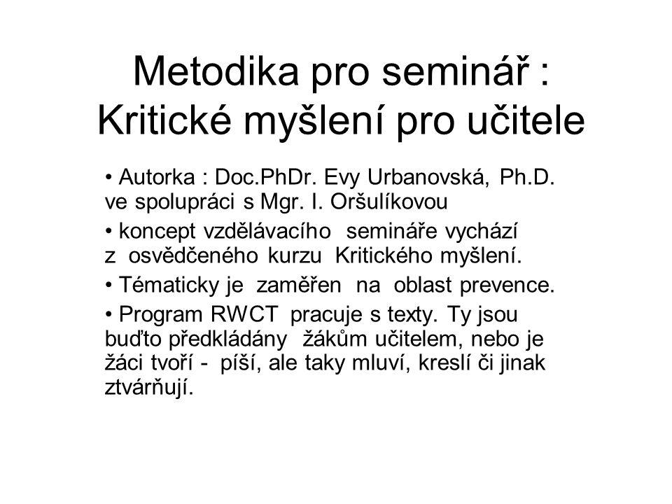 Metodika pro seminář : Kritické myšlení pro učitele Autorka : Doc.PhDr. Evy Urbanovská, Ph.D. ve spolupráci s Mgr. I. Oršulíkovou koncept vzdělávacího