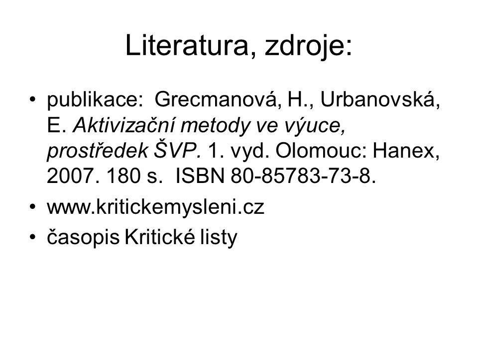 Literatura, zdroje: publikace: Grecmanová, H., Urbanovská, E. Aktivizační metody ve výuce, prostředek ŠVP. 1. vyd. Olomouc: Hanex, 2007. 180 s. ISBN 8
