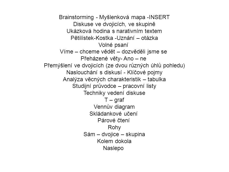 Brainstorming - Myšlenková mapa -INSERT Diskuse ve dvojicích, ve skupině Ukázková hodina s narativním textem Pětilístek-Kostka -Uznání – otázka Volné