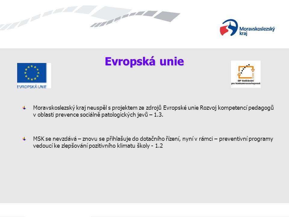 Evropská unie Moravskoslezský kraj neuspěl s projektem ze zdrojů Evropské unie Rozvoj kompetencí pedagogů v oblasti prevence sociálně patologických je