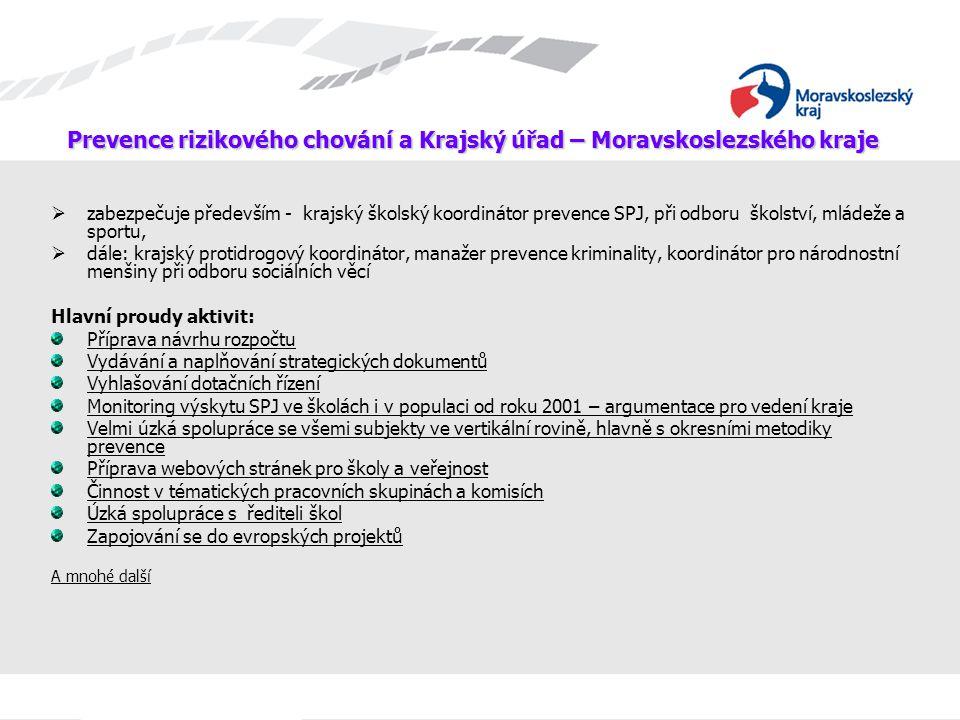 Prevence rizikového chování a Krajský úřad – Moravskoslezského kraje  zabezpečuje především - krajský školský koordinátor prevence SPJ, při odboru šk
