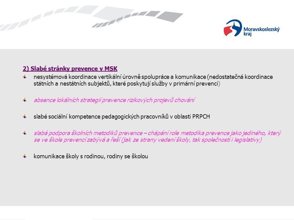 2) Slabé stránky prevence v MSK nesystémová koordinace vertikální úrovně spolupráce a komunikace (nedostatečná koordinace státních a nestátních subjek