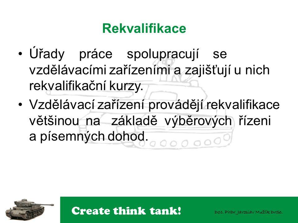 Create think tank! Doc. PhDr. Jaroslav Mužík DrSc. Úřady práce spolupracují se vzdělávacími zařízeními a zajišťují u nich rekvalifikační kurzy. Vzdělá