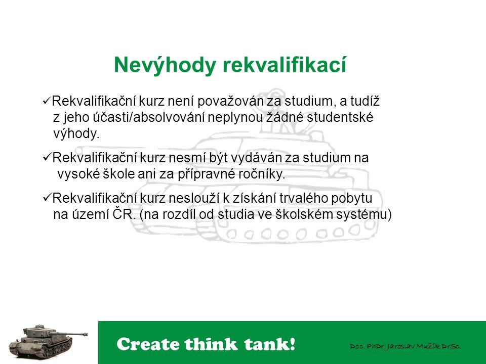 Create think tank! Doc. PhDr. Jaroslav Mužík DrSc. Rekvalifikační kurz není považován za studium, a tudíž z jeho účasti/absolvování neplynou žádné stu