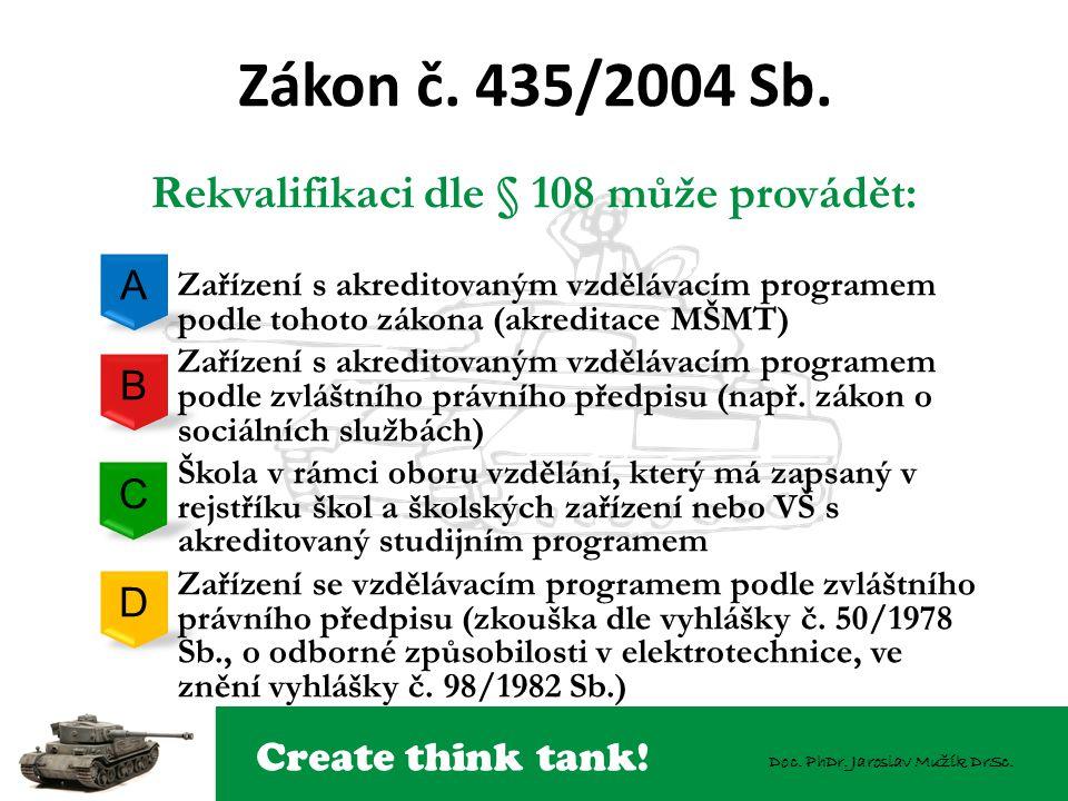 Create think tank! Doc. PhDr. Jaroslav Mužík DrSc. Zákon č. 435/2004 Sb. Rekvalifikaci dle § 108 může provádět: – Zařízení s akreditovaným vzdělávacím