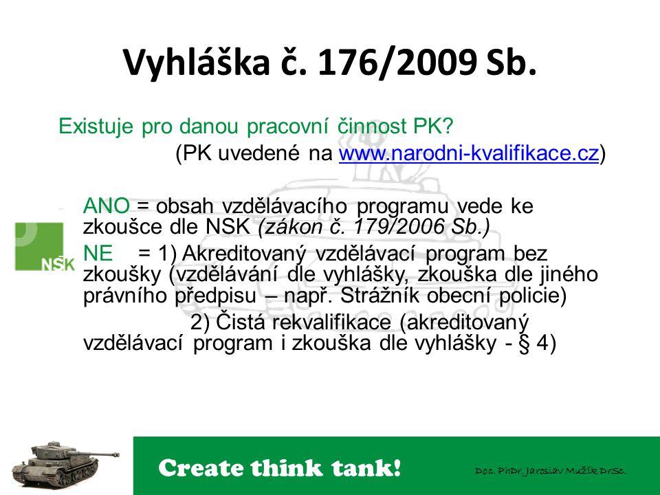 Create think tank! Doc. PhDr. Jaroslav Mužík DrSc. Existuje pro danou pracovní činnost PK? (PK uvedené na www.narodni-kvalifikace.cz)www.narodni-kvali