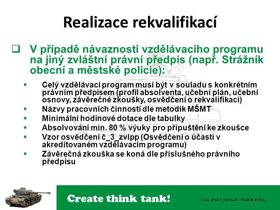 Create think tank! Doc. PhDr. Jaroslav Mužík DrSc.  V případě návaznosti vzdělávacího programu na jiný zvláštní právní předpis (např. Strážník obecní