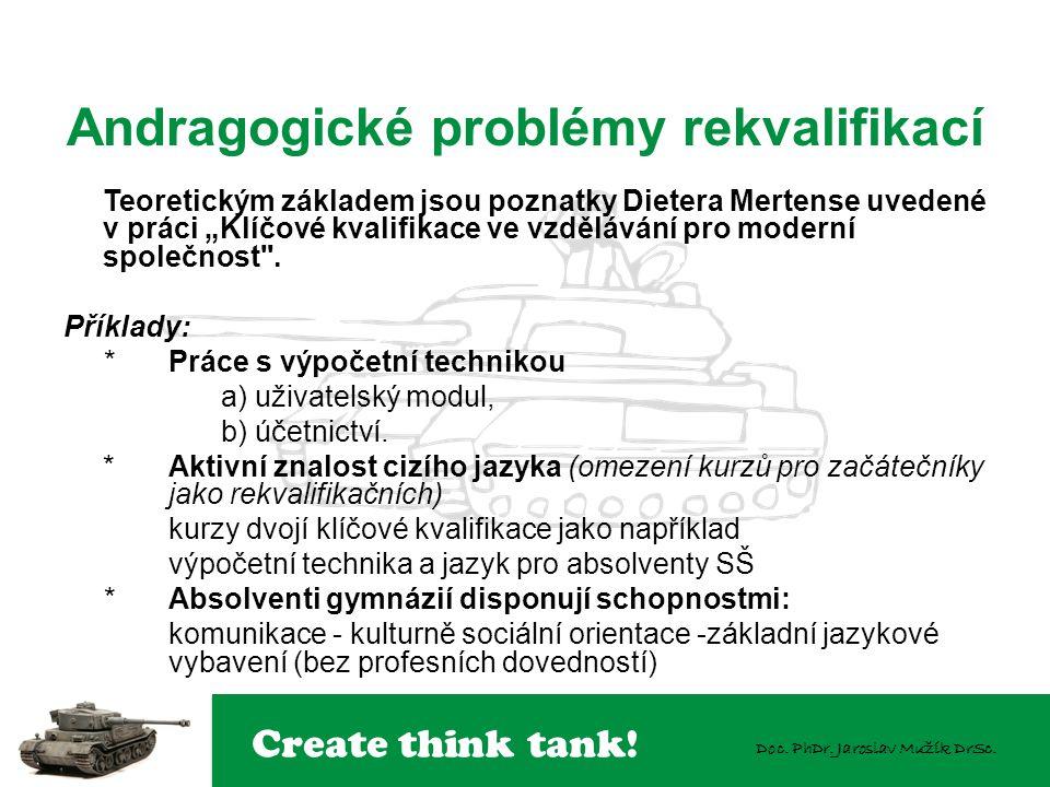 """Create think tank! Doc. PhDr. Jaroslav Mužík DrSc. Teoretickým základem jsou poznatky Dietera Mertense uvedené v práci """"Klíčové kvalifikace ve vzděláv"""