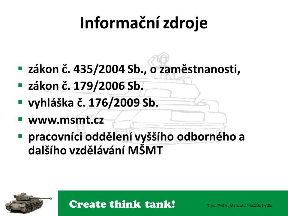 Create think tank! Doc. PhDr. Jaroslav Mužík DrSc. Informační zdroje  zákon č. 435/2004 Sb., o zaměstnanosti,  zákon č. 179/2006 Sb.  vyhláška č. 1
