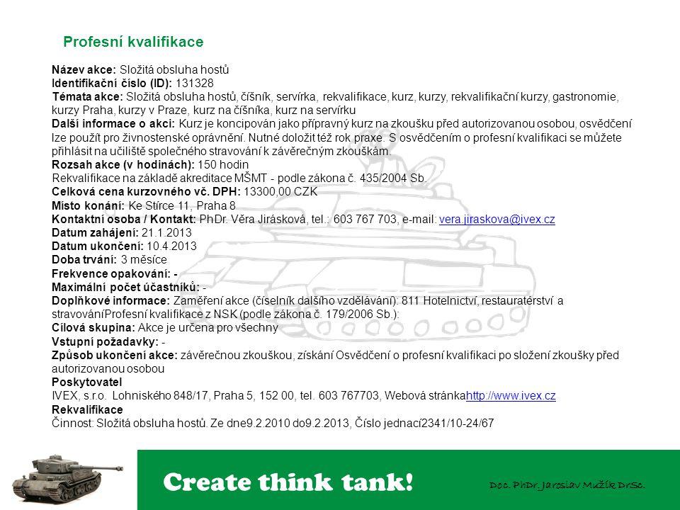 Create think tank! Doc. PhDr. Jaroslav Mužík DrSc. Název akce: Složitá obsluha hostů Identifikační číslo (ID): 131328 Témata akce: Složitá obsluha hos