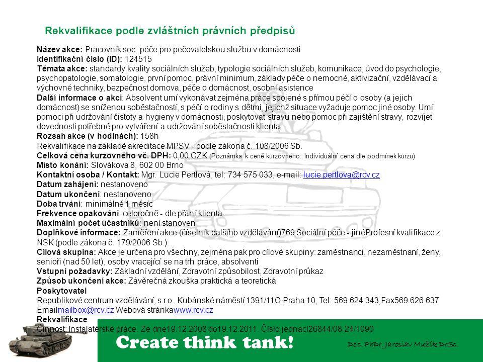 Create think tank! Doc. PhDr. Jaroslav Mužík DrSc. Název akce: Pracovník soc. péče pro pečovatelskou službu v domácnosti Identifikační číslo (ID): 124