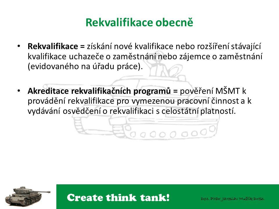 Create think tank! Doc. PhDr. Jaroslav Mužík DrSc. Rekvalifikace obecně Rekvalifikace = získání nové kvalifikace nebo rozšíření stávající kvalifikace