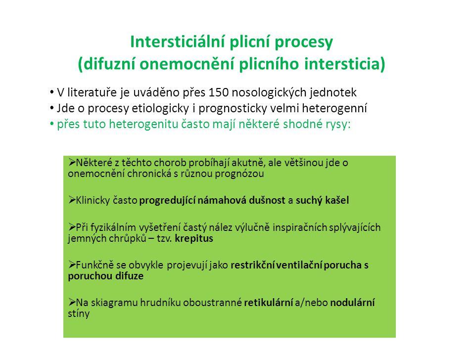 Intersticiální plicní procesy (difuzní onemocnění plicního intersticia)  Některé z těchto chorob probíhají akutně, ale většinou jde o onemocnění chro