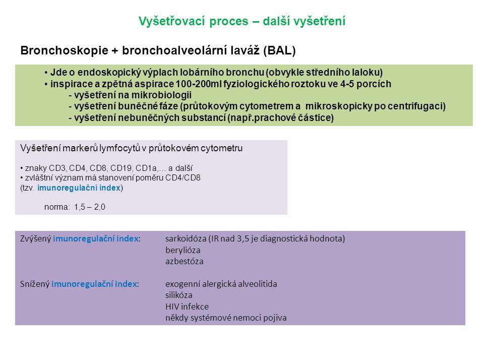 Zvýšený imunoregulační index:sarkoidóza (IR nad 3,5 je diagnostická hodnota) berylióza azbestóza Snížený imunoregulační index:exogenní alergická alveo