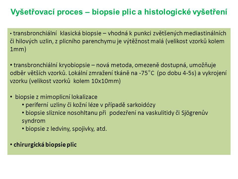 Vyšetřovací proces – biopsie plic a histologické vyšetření transbronchiální klasická biopsie – vhodná k punkci zvětšených mediastinálních či hilových