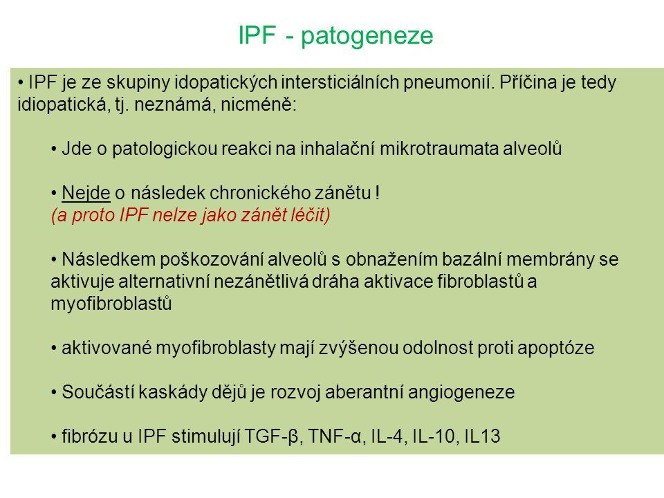 IPF - patogeneze IPF je ze skupiny idopatických intersticiálních pneumonií. Příčina je tedy idiopatická, tj. neznámá, nicméně: Jde o patologickou reak