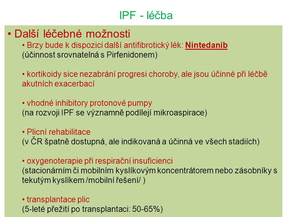 IPF - léčba Další léčebné možnosti Brzy bude k dispozici další antifibrotický lék: Nintedanib (účinnost srovnatelná s Pirfenidonem) kortikoidy sice ne