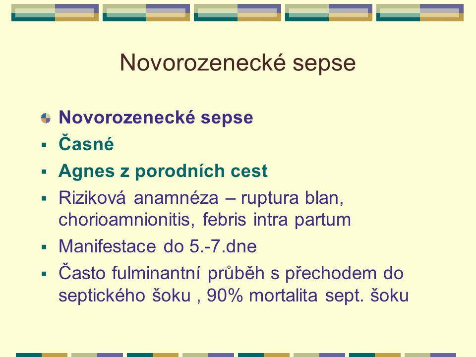 Novorozenecké sepse  Časné  Agnes z porodních cest  Riziková anamnéza – ruptura blan, chorioamnionitis, febris intra partum  Manifestace do 5.-7.d