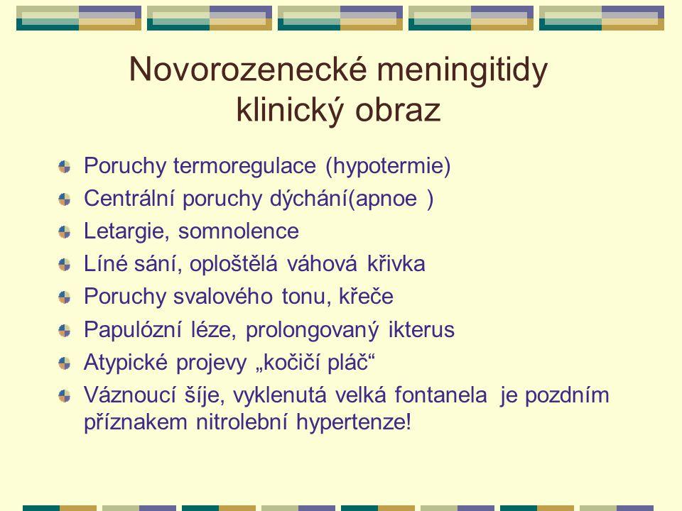 Novorozenecké meningitidy klinický obraz Poruchy termoregulace (hypotermie) Centrální poruchy dýchání(apnoe ) Letargie, somnolence Líné sání, oploštěl