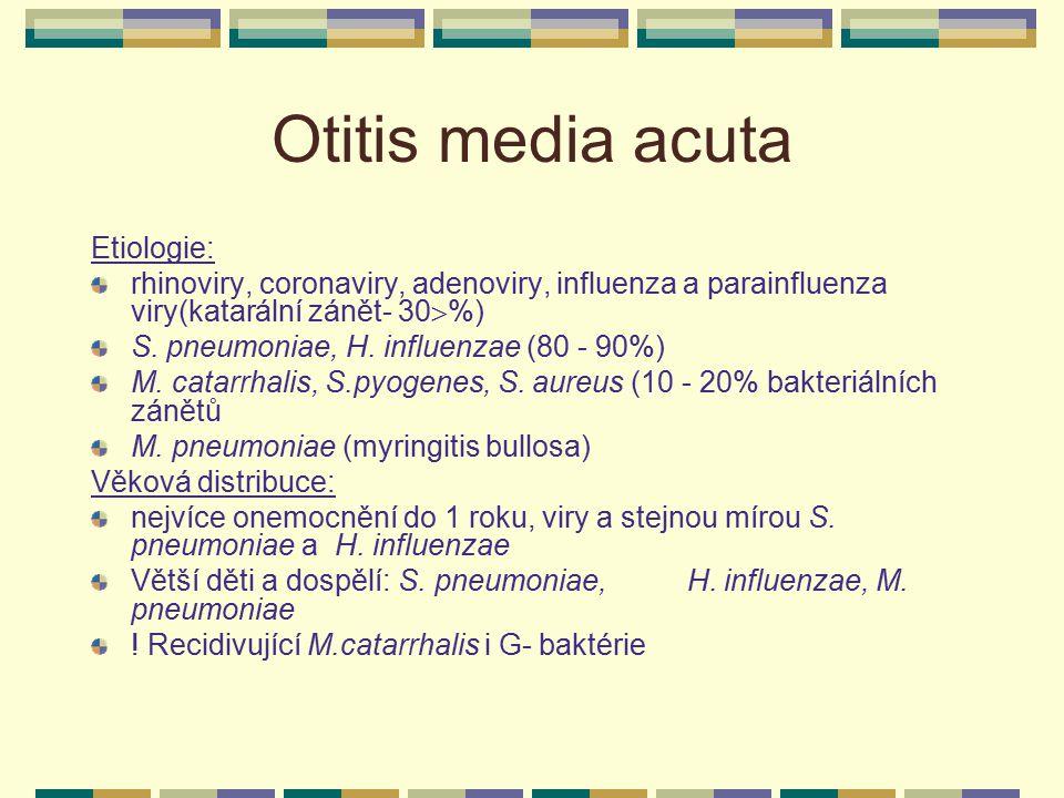 Otitis media acuta Etiologie: rhinoviry, coronaviry, adenoviry, influenza a parainfluenza viry(katarální zánět- 30  %) S. pneumoniae, H. influenzae (