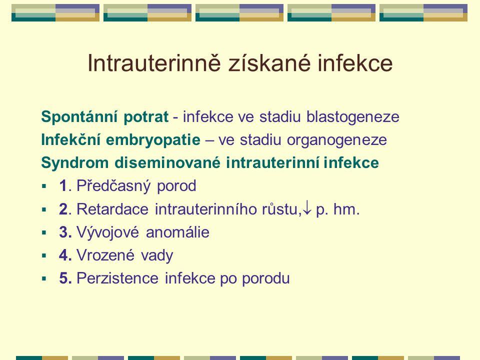 Intrauterinně získané infekce Spontánní potrat - infekce ve stadiu blastogeneze Infekční embryopatie – ve stadiu organogeneze Syndrom diseminované int