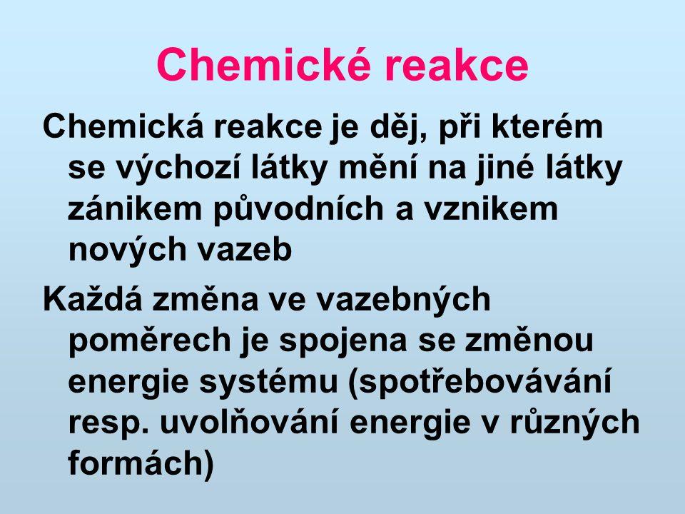 Chemické reakce Chemická reakce je děj, při kterém se výchozí látky mění na jiné látky zánikem původních a vznikem nových vazeb Každá změna ve vazebných poměrech je spojena se změnou energie systému (spotřebovávání resp.