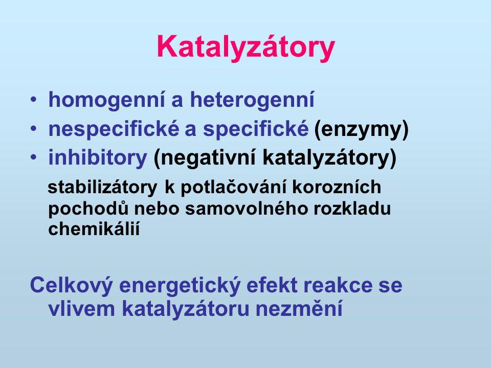 Katalyzátory homogenní a heterogenní nespecifické a specifické (enzymy) inhibitory (negativní katalyzátory) stabilizátory k potlačování korozních pochodů nebo samovolného rozkladu chemikálií Celkový energetický efekt reakce se vlivem katalyzátoru nezmění