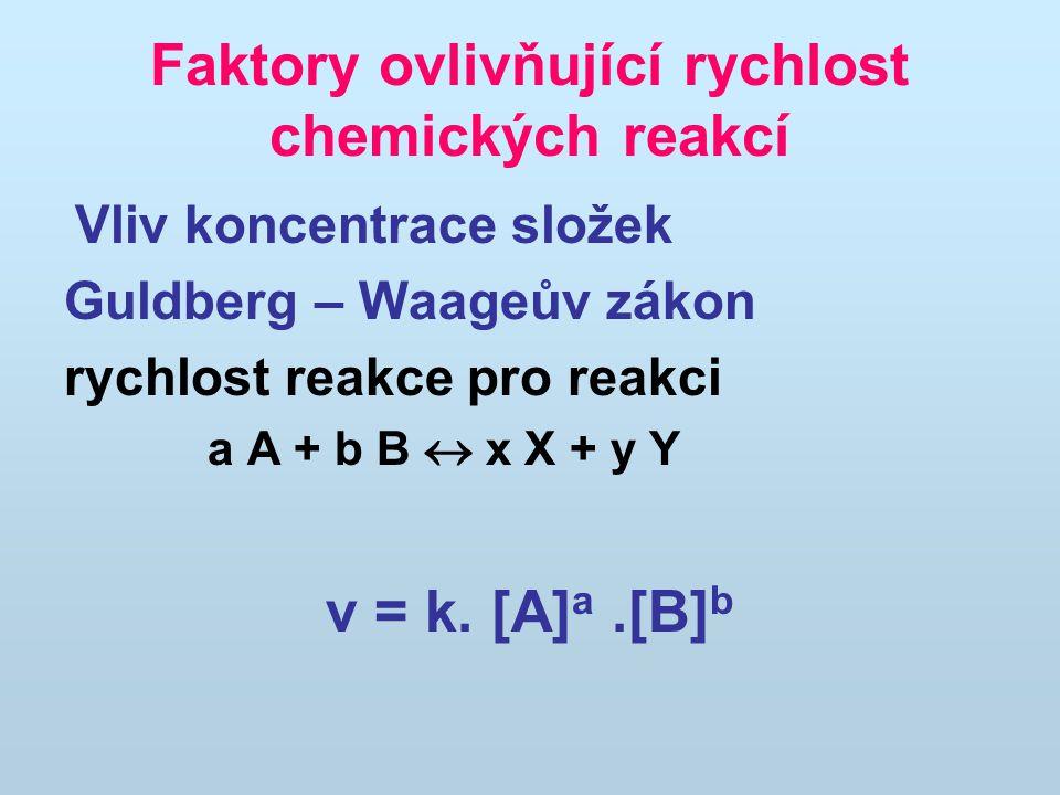 Faktory ovlivňující rychlost chemických reakcí Vliv koncentrace složek Guldberg – Waageův zákon rychlost reakce pro reakci a A + b B  x X + y Y v = k