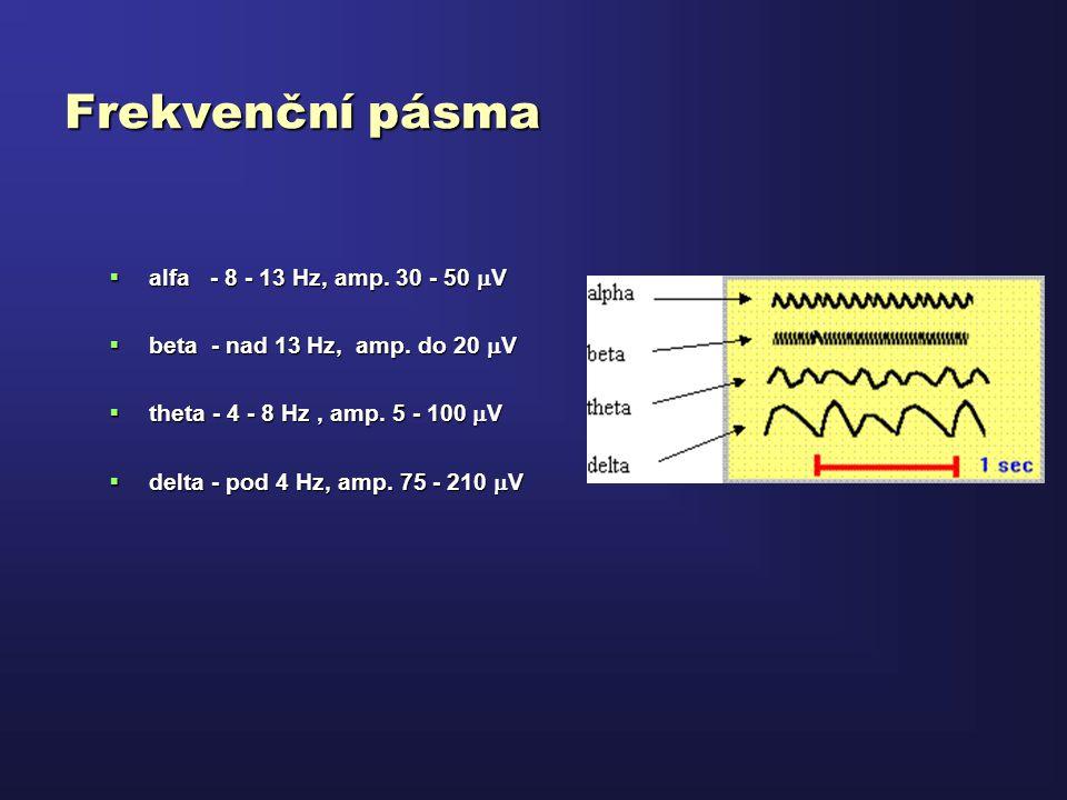 Frekvenční pásma  alfa - 8 - 13 Hz, amp. 30 - 50  V  beta - nad 13 Hz, amp. do 20  V  theta - 4 - 8 Hz, amp. 5 - 100  V  delta - pod 4 Hz, amp.