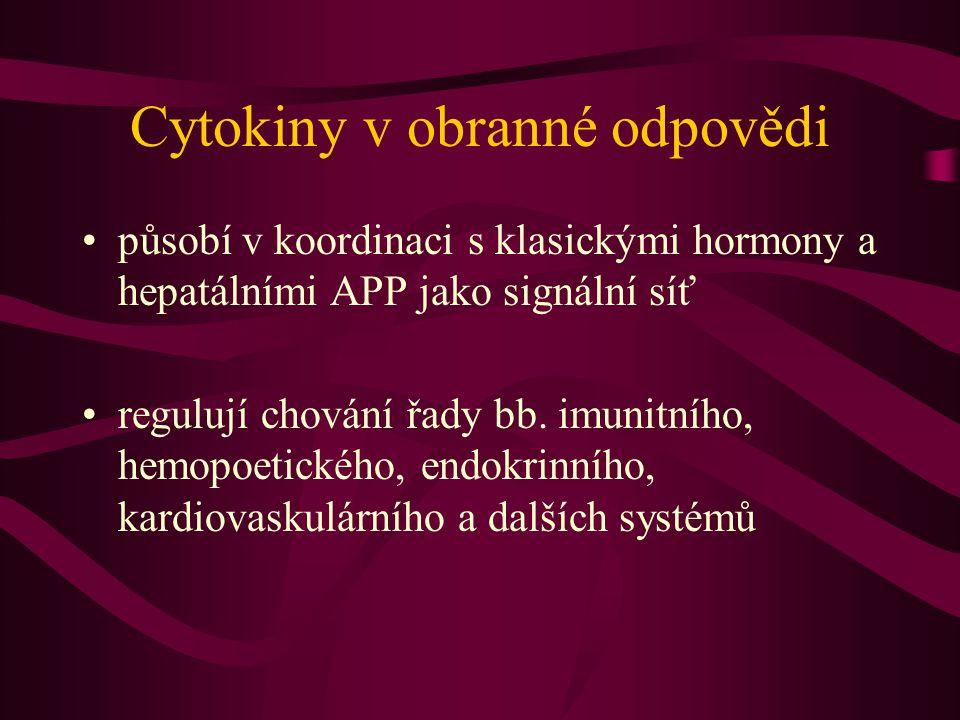 Cytokiny v obranné odpovědi působí v koordinaci s klasickými hormony a hepatálními APP jako signální síť regulují chování řady bb. imunitního, hemopoe