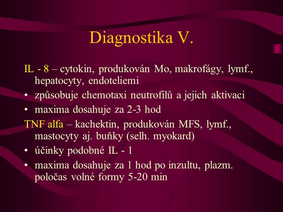 Diagnostika V. IL - 8 – cytokin, produkován Mo, makrofágy, lymf., hepatocyty, endoteliemi způsobuje chemotaxi neutrofilů a jejich aktivaci maxima dosa