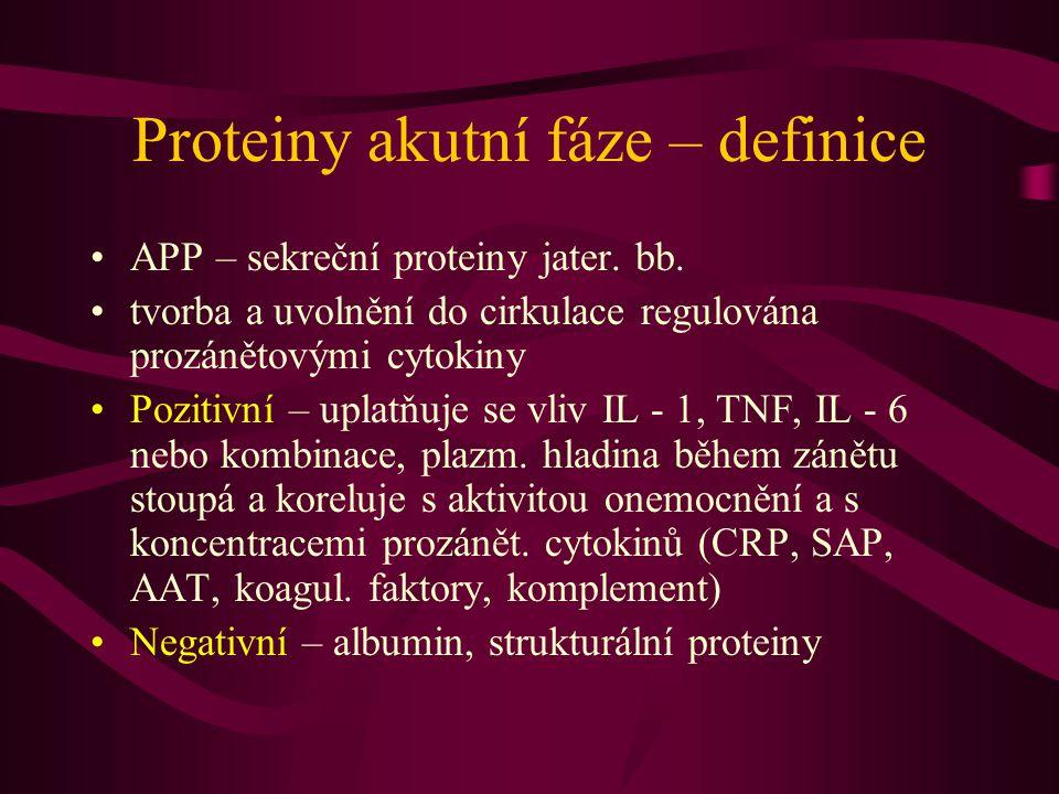 Proteiny akutní fáze – definice APP – sekreční proteiny jater. bb. tvorba a uvolnění do cirkulace regulována prozánětovými cytokiny Pozitivní – uplatň