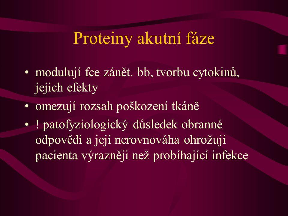 Proteiny akutní fáze modulují fce zánět. bb, tvorbu cytokinů, jejich efekty omezují rozsah poškození tkáně ! patofyziologický důsledek obranné odpověd