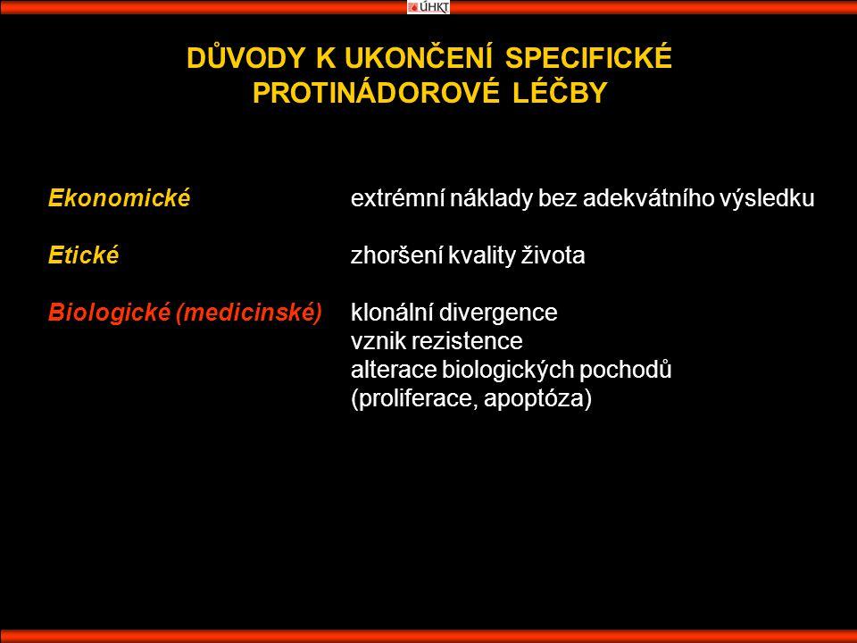 DŮVODY K UKONČENÍ SPECIFICKÉ PROTINÁDOROVÉ LÉČBY Ekonomickéextrémní náklady bez adekvátního výsledku Etickézhoršení kvality života Biologické (medicinské)klonální divergence vznik rezistence alterace biologických pochodů (proliferace, apoptóza)