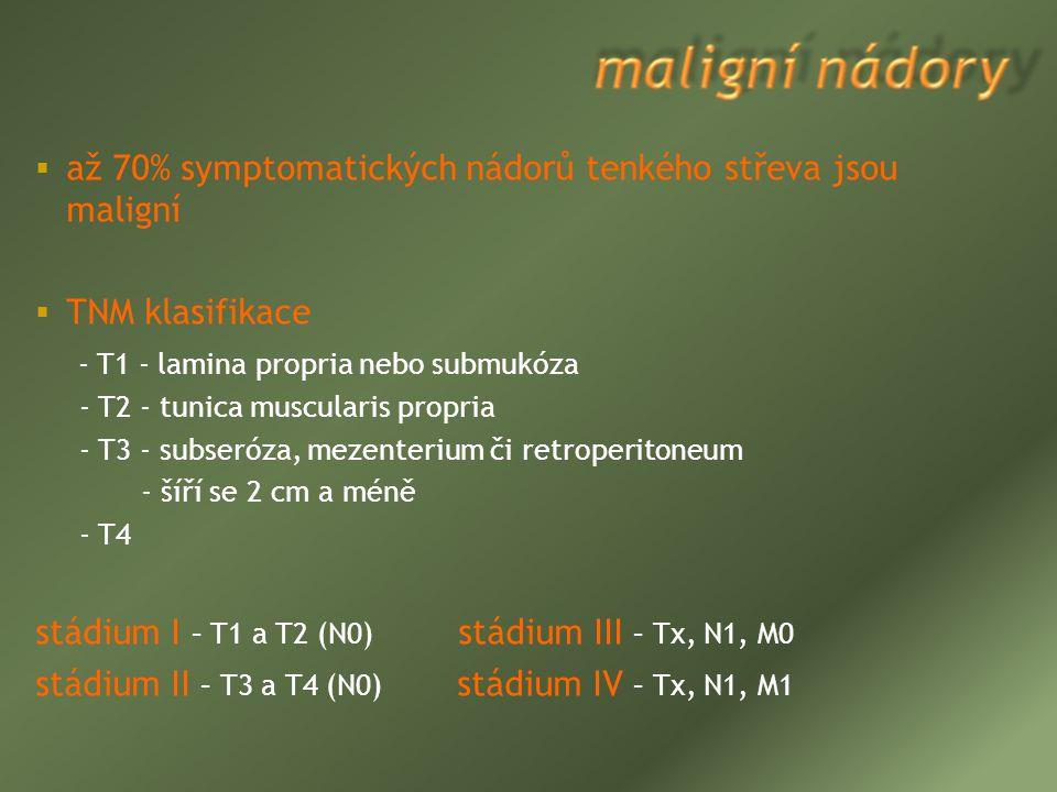  až 70% symptomatických nádorů tenkého střeva jsou maligní  TNM klasifikace - T1 - lamina propria nebo submukóza - T2 - tunica muscularis propria -