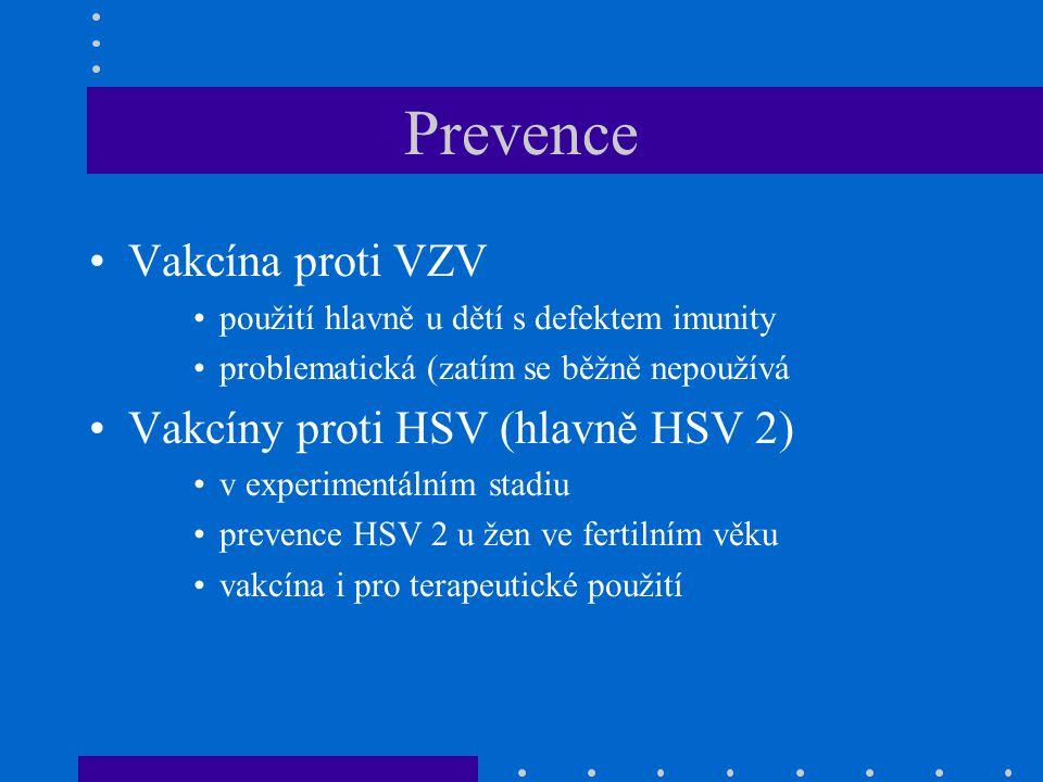 Prevence Vakcína proti VZV použití hlavně u dětí s defektem imunity problematická (zatím se běžně nepoužívá Vakcíny proti HSV (hlavně HSV 2) v experim