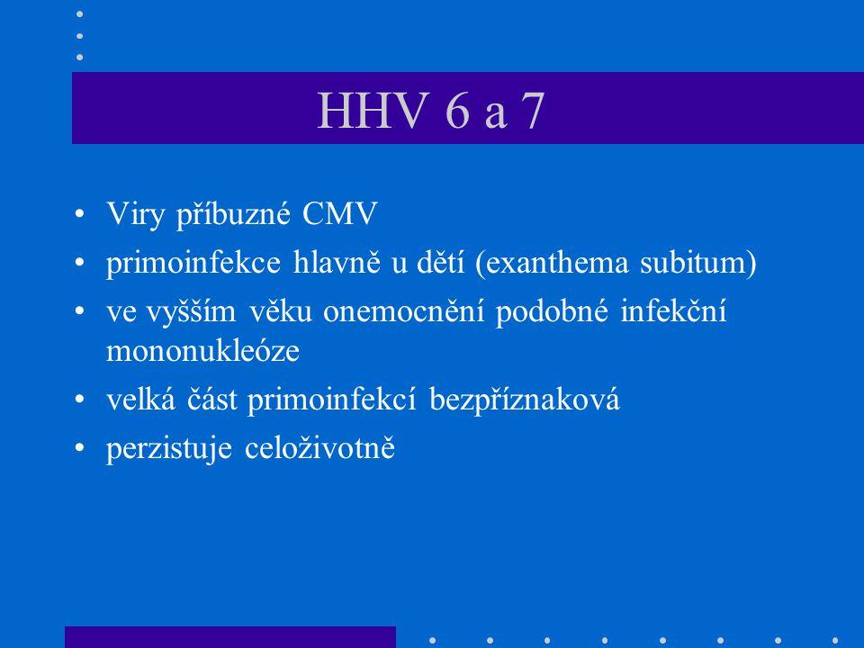 HHV 6 a 7 Viry příbuzné CMV primoinfekce hlavně u dětí (exanthema subitum) ve vyšším věku onemocnění podobné infekční mononukleóze velká část primoinf