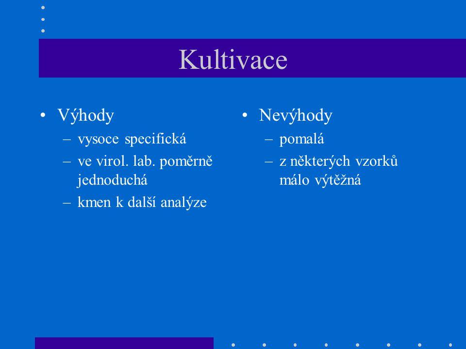 Kultivace Výhody –vysoce specifická –ve virol. lab. poměrně jednoduchá –kmen k další analýze Nevýhody –pomalá –z některých vzorků málo výtěžná