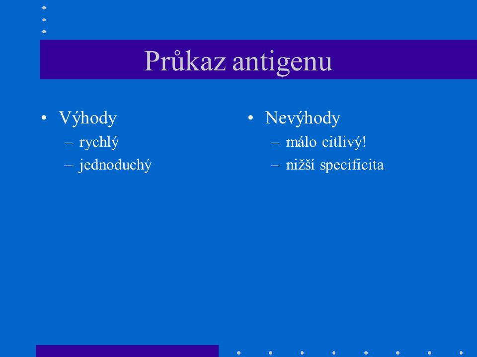 Průkaz antigenu Výhody –rychlý –jednoduchý Nevýhody –málo citlivý! –nižší specificita