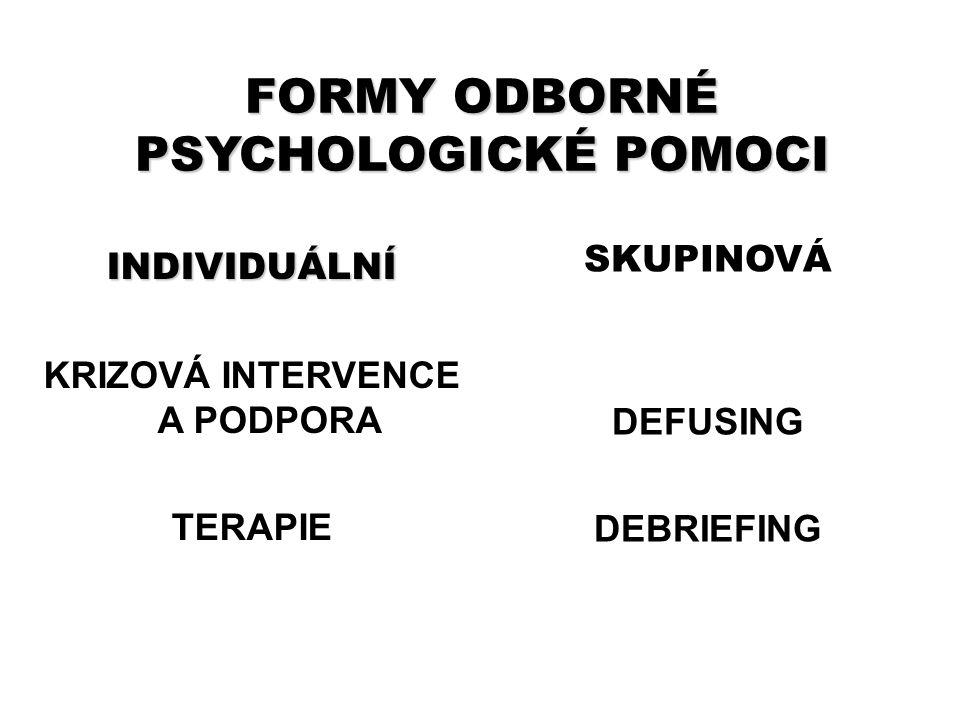 FORMY ODBORNÉ PSYCHOLOGICKÉ POMOCI INDIVIDUÁLNÍ KRIZOVÁ INTERVENCE A PODPORA TERAPIE SKUPINOVÁ DEFUSING DEBRIEFING