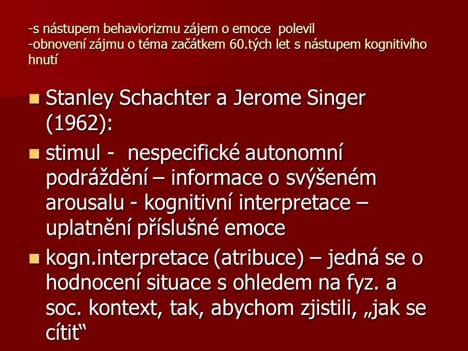 -s nástupem behaviorizmu zájem o emoce polevil -obnovení zájmu o téma začátkem 60.tých let s nástupem kognitivího hnutí Stanley Schachter a Jerome Sin