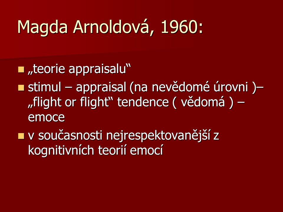 """Magda Arnoldová, 1960: """"teorie appraisalu"""" """"teorie appraisalu"""" stimul – appraisal (na nevědomé úrovni )– """"flight or flight"""" tendence ( vědomá ) – emoc"""
